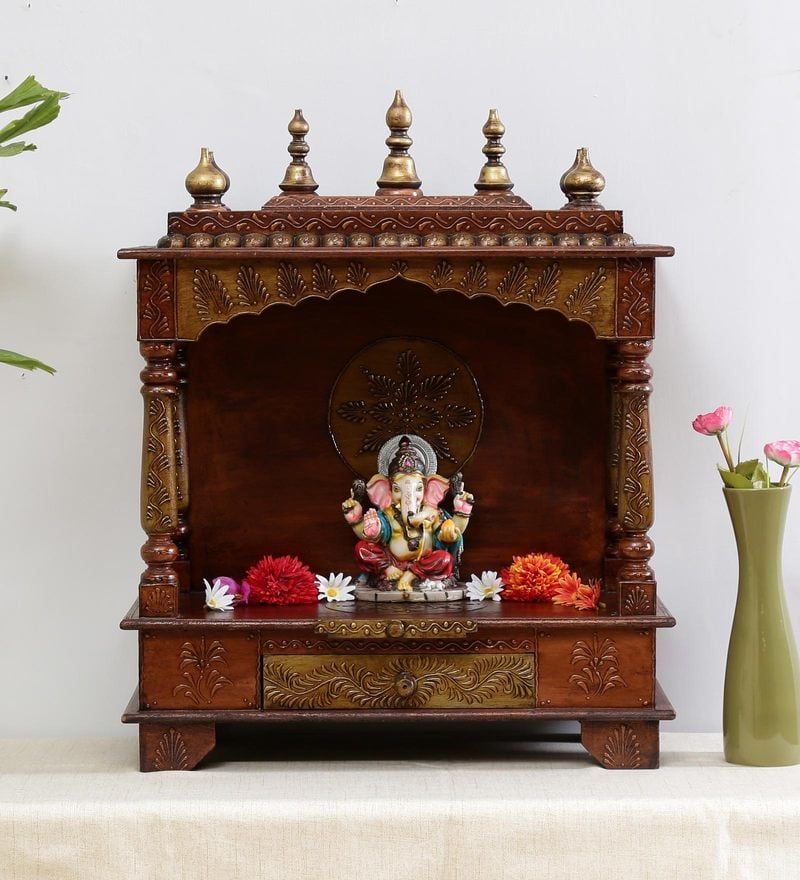 Big Size Sheesham Wood & MDF Mandir & Pooja Temple for Home & Office Best Design For Home Temple on